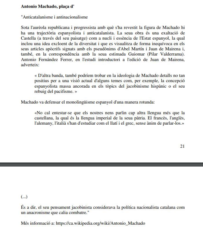 Fragment de l'article sobre Antonio Machado