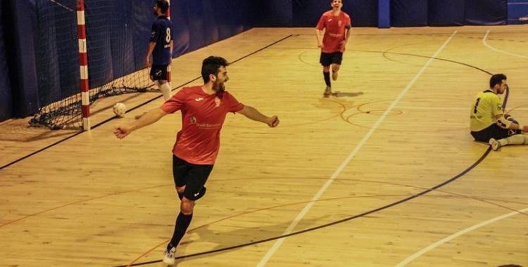 Imatge de la celebració d'un gol del Grups Arrahona en un partit anterior