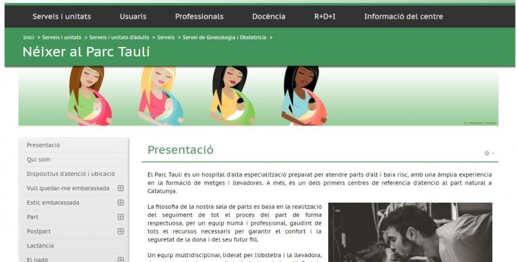 La pàgina d'entrada del portal web