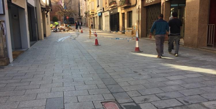 Imatge del carrer Sant Quirze aquest matí