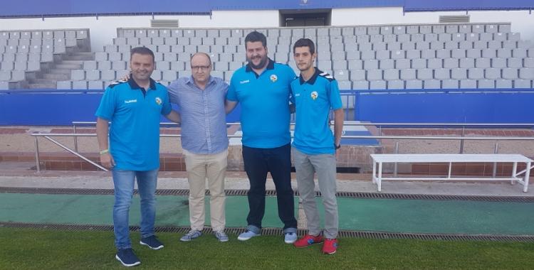 Jordi Bransuela amb el president i els dos entrenadors