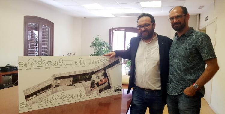 L'alcalde Fernàndez i el tinent d'alcalde Serracant presenten el projecte del futur Passeig