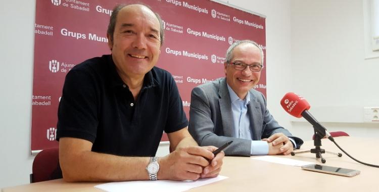 Josep Beltran i Carles Rossinyol a la roda de premsa d'aquest matí