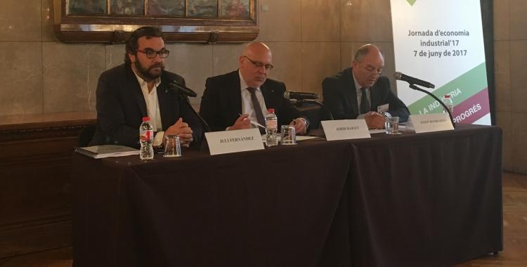 L'alcalde Juli Fernàndez, el conseller d'Empresa i Coneixement, Jordi Baiget i el president de la Fundit, Josep Bombardó | Mireia Sans