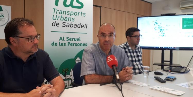 Guerrero (centre), López (esquerra) i Cañadas han presentat avui les xifres d'usuaris de la TUS/ Karen Madrid