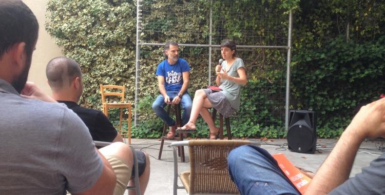 """Jordi Cuixart (Òmnium) i Laia Altarriba, directora de """"Jornada"""". Foto: Ràdio Sabadell"""