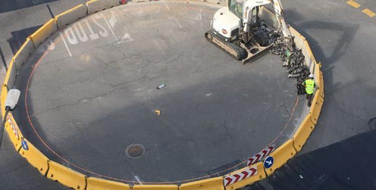 Vista aèria dels treballs a la rotonda de la Rambla Ibèria