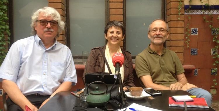 Alsinet, Mira i Larrosa en roda de premsa. Foto: Ràdio Sabadell