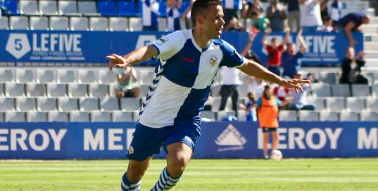 Felipe Sanchón celebra el gol de la victòria contra l'Atlètic Balears   Sandra Dihor