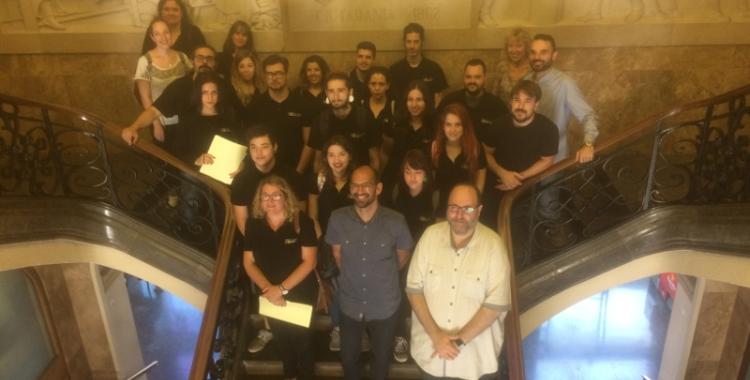 Recepció als alumnes de producció multimèdia de la Casa d'Oficis del Vapor Llonch.