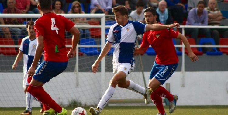 Víctor en l'acció del seu primer gol amb la samarreta del primer equip arlequinat | Sandra Dihor