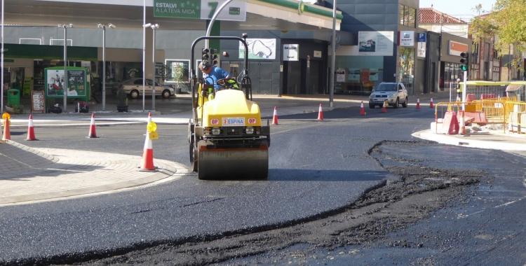 Últims treballs a la rotonda de Rambla Ibèria | Foto: Ajuntament de Sabadell