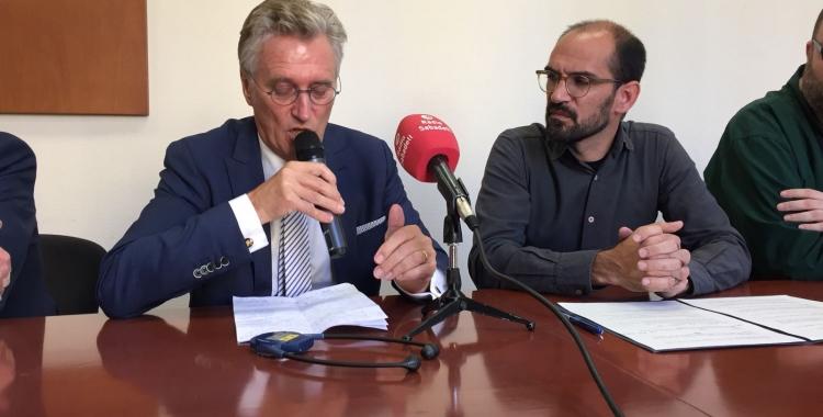 John Sorritsma, alcalde d'Eindhoven, i Maties Serracant, batlle de Sabadell.   Foto: Ràdio Sabadell
