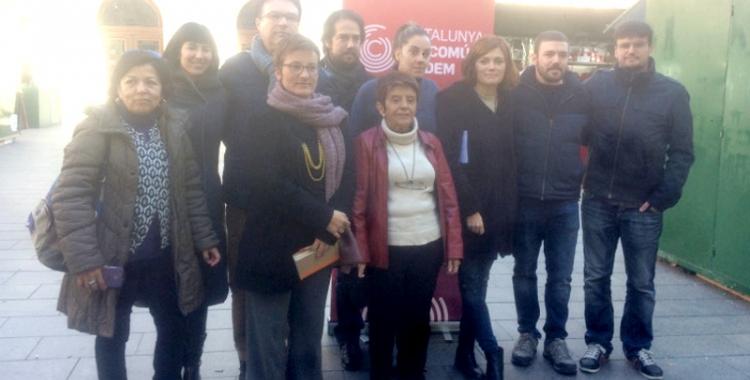 Els candidats Elisenda Alamany, Marta Ribas i Joan Josep Nuet han visitat Sabadell a les portes de la campanya.