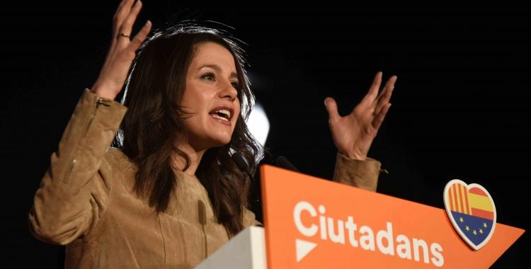 Inés Arrimadas durant el míting a Fira Sabadell. | Foto: Roger Benet