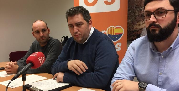 El grup municipal de C's durant la roda de premsa | Foto: Ràdio Sabadell