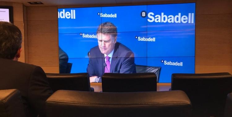 El Banc Sabadell ha fet la presentació dels resultats per videoconferència a Barcelona.