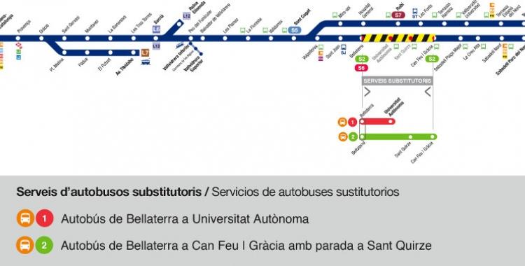 Mapa de l'afectació a la línia de Ferrocarrils | Cedida