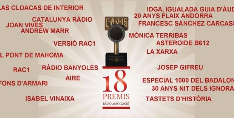 Els guanyadors de la 18a edició dels Premis | Ràdio Associació de Catalunya