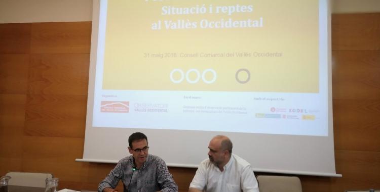 Igansi Giménez i el professor de sociologia Pau Marí-Klose | Consell Comarcal del Vallès Occidental
