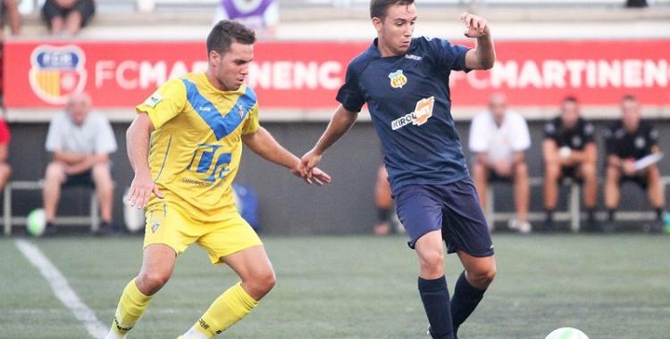David Acedo (de blau) en un partit amb el Vilafranca