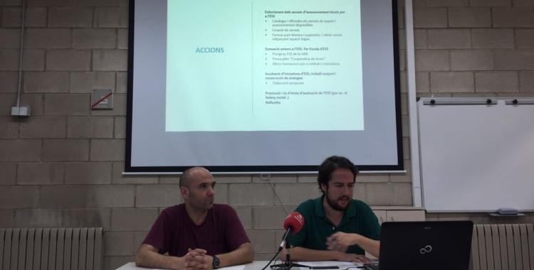 Joan Berlanga i Eduard Navarro durant la presentació | Ràdio Sabadell