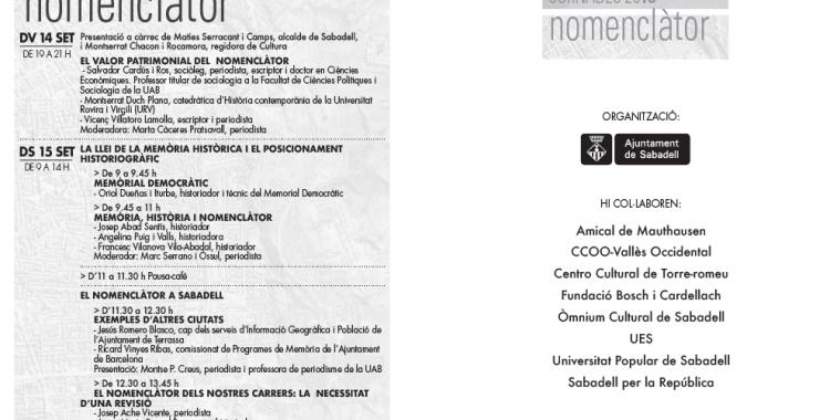 Cartell de les jornades nomenclàtor | Ajuntament de Sabadell