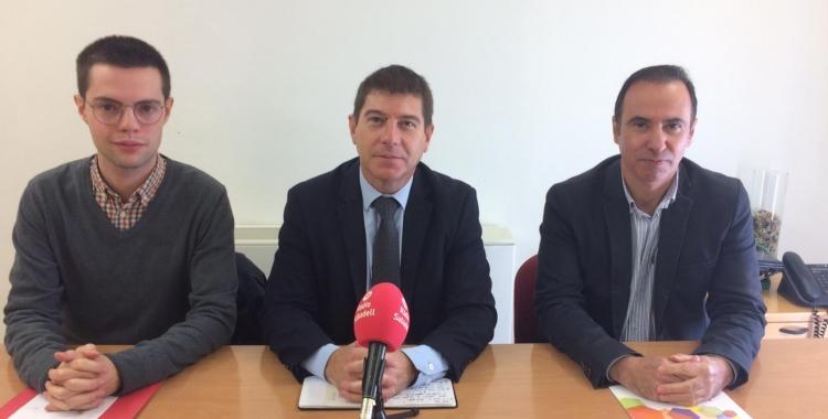 Eloi Cortés, Josep Ayuso i Carlos Corcuera a la roda de premsa de presentació de la moció | Helena Molist
