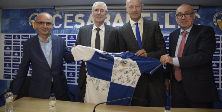 Joaquim Badia, Lluís Buil, Esteve Calzada i Xavi Andreu, en l'acte de presentació de l'acord | Roger Benet