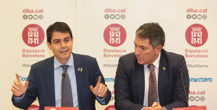 El president de la Diputació, Marc Castells (esquerra), presentant les inversions/ Diputació de Barcelona