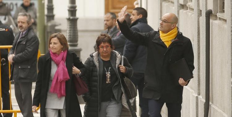 Forcadell, Bassa i Romeva a les portes del Suprem el març passat | ACN