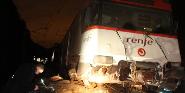 Imatge del tren que ha descarrilat aquest matí a Vacarisses | ACN