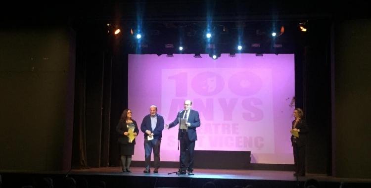 Jordi Cascales durant la seva intervenció en l'acte dels 100 anys del Sant Vicenç | Ràdio Sabadell