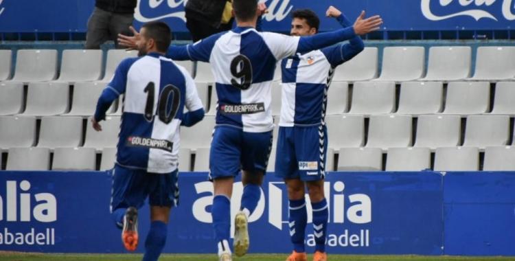 Néstor Querol celebra l'únic gol de la victòria d'avui | Críspulo Díaz