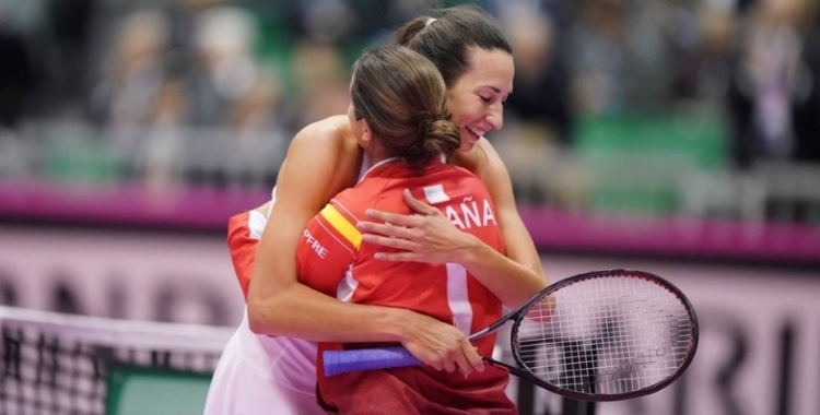 'Huracà' Georgina García celebrant la victòria a Kita-Kyushu | FedCup (Takeo Tanuma)