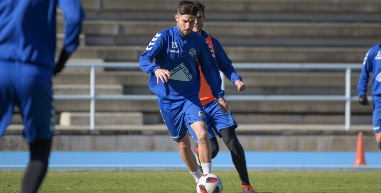 Domínguez, en un dels últims entrenaments a Sant Oleguer | Roger Benet