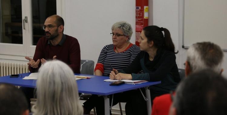 Serracant, Nani Valero (número 2) i Ferràndiz a la taula durant l'acte   La Crida per Sabadell