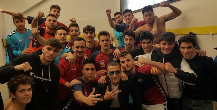 Els jugadors celebren la victòria després del partit | CE Mercantil