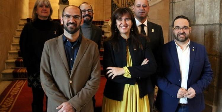 Regidors i alcalde de Sabadell amb la consellera Laura Borràs i el comissari, Joan Safont, a la presentació de l'Any | Cedida