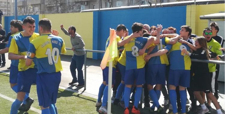 L'alegria va esclatar a Ca n'Oriac amb el primer gol de Jairo, que posava per davant el Sabadell Nord. | Sergi Park