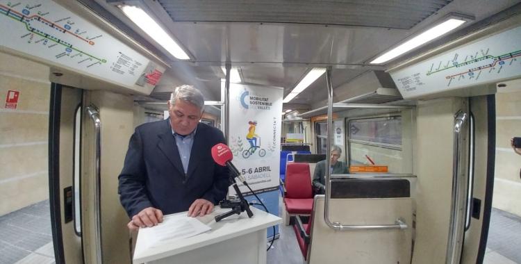 Josep Manel López, durant la roda de premsa a l'Espai Sabadell Rambla | Pere Gallifa