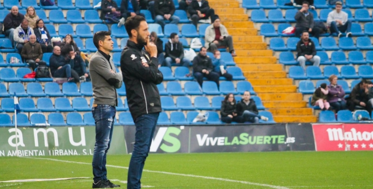 Antonio Hidalgo rere Lluís Planagumà a l'Hércules-Sabadell de dissabte passat a Alacant | HCF