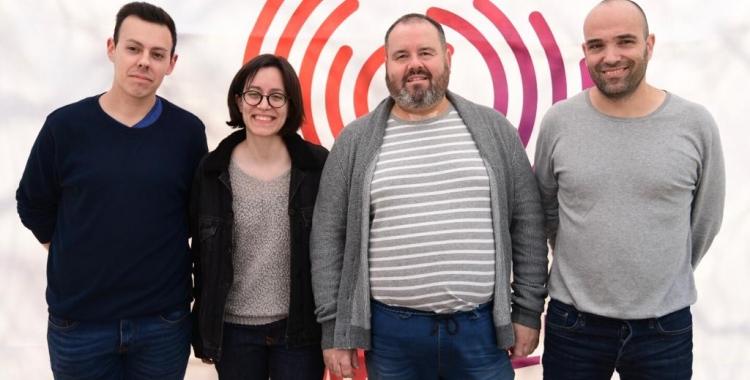 Juanma Martínez, Ester García, Joan Mena i Joan Berlanga en l'acte d'aquest matí | Roger Benet