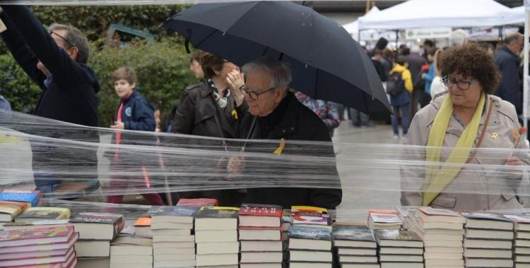 Sabadellencs mirant llibres a la plaça del Doctor Robert   Roger Benet
