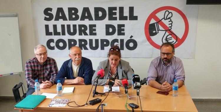La Plataforma Sabadell Lliure de Corrupció en la roda de premsa d'avui | Pere Gallifa