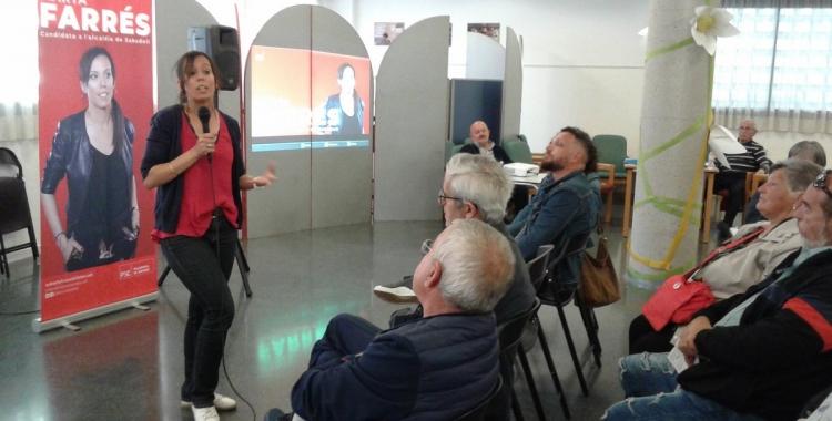 L'alcaldable socialista, durant la xerrada al complex de Sant Oleguer | Marc Serrano i Òssul