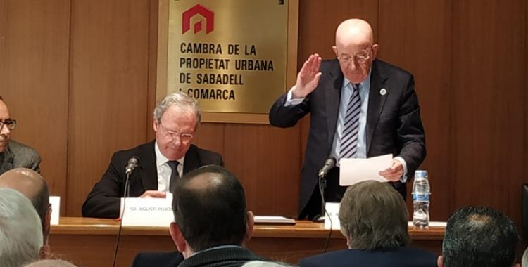 Antoni Quintana durant la presa de possessió com a president   Cedida