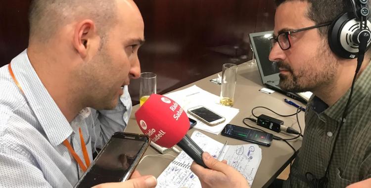El cap de llista taronja, durant l'entrevista de valoració de resultats dins l'especial electoral de Ràdio Sabadell | Ciutadans Sabadell