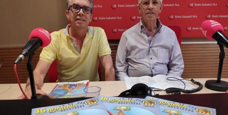 El president de l'entitat, José Campos, i el seu vicepresident, Luis Pacheco, a Ràdio Sabadell