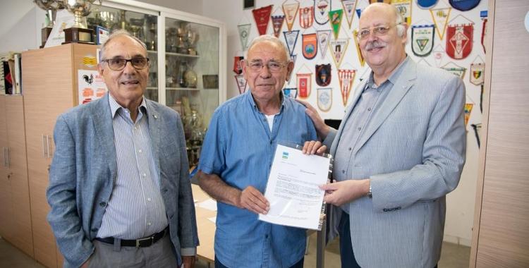 Martí Sala, Juan José Murillo i Josep Masip aquest migdia a les oficines del Municipal de Ca n'Oriac   Roger Benet